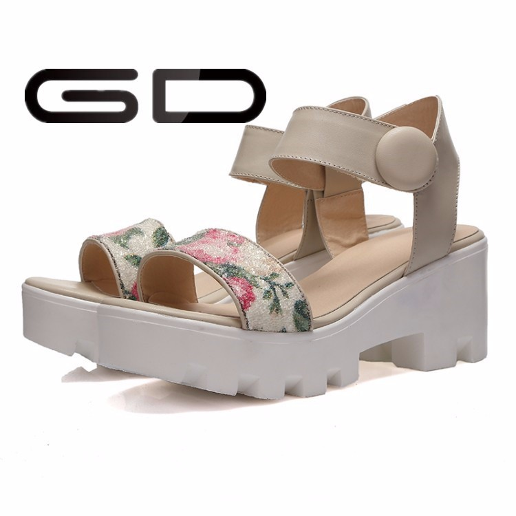 China online shopping lady sandals shoes middle heel shoes for children kids shoes with platform heel