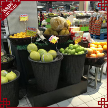 Unique new waterproof PE wicker woven fresh and vegetable display basket supermarket fruit stand rack