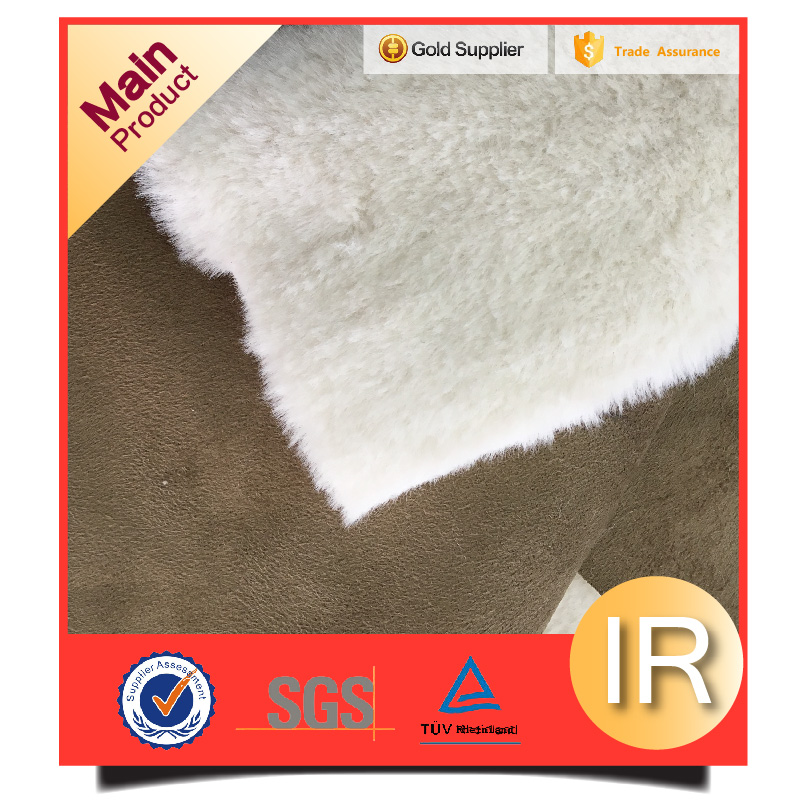 fake rabbit fur bonded with suede fur fleece knitted fabric