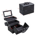 Portable Makeup Train Case Alumi Cosmetic Box with Mirror Black