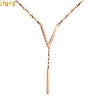 Beautiful rose gold delicate simple casual V Lariat minimal Design Long Chain drop bar necklace(SMN-247)