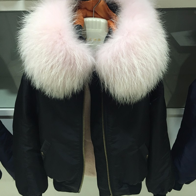 Fashion winter women bomber jacket with raccoon fur collar