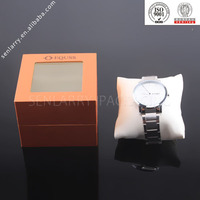 Custom made promotional high-end watch gift packaging boxes with pillow and PET window