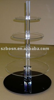 Round Acrylic Cupcake Display with Black Base