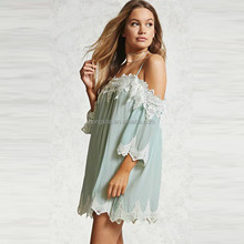 2017 Summer Mint Color Dresses Women Adults Draped Sleeves Sexy Shift Dress HSm9157
