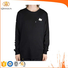Black Plain Long Sleeve T shirt With Pocket