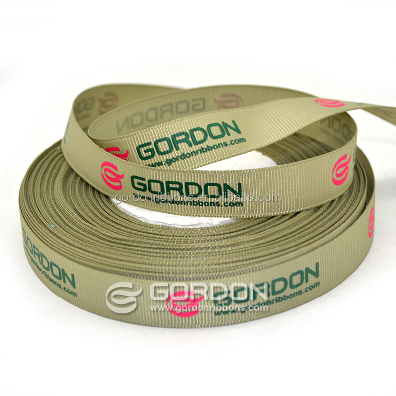 grosgrain ribbon with ink printing logo