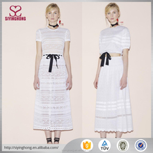 Women casual white lace crocheted short sleeve long slim dress