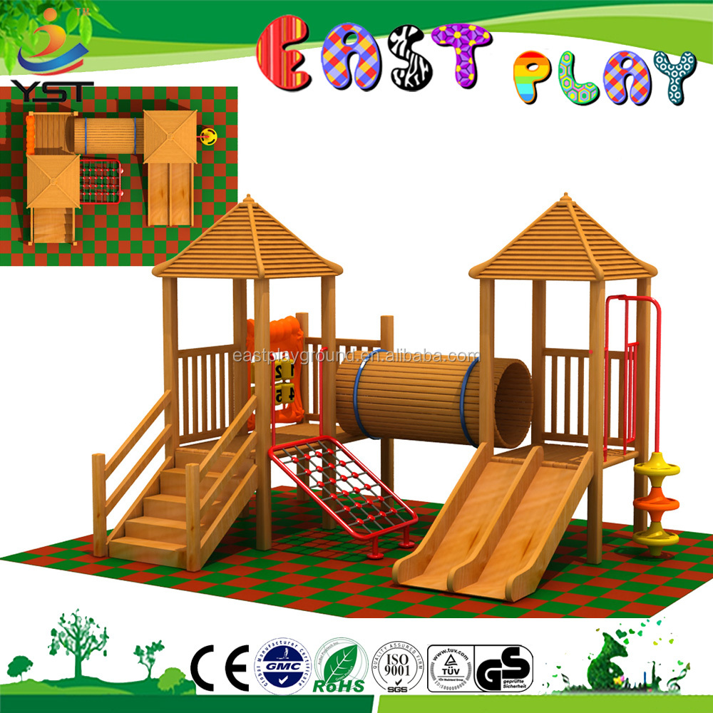 Beautiful wooden kids outdoor play for children playing funny games in park