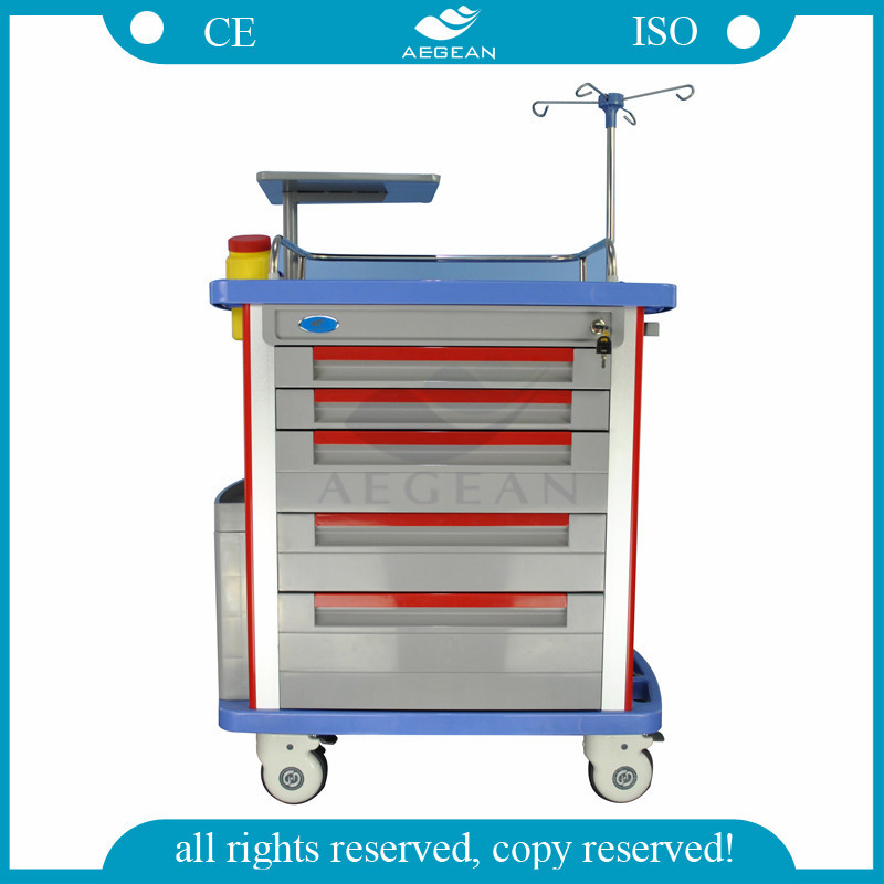 AG-ET001A1 with five drawers CPR board oxygen tank ABS trolley medical furniture
