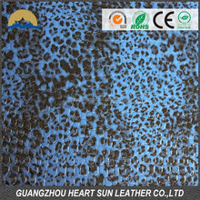 Heartsun 2015 calcados com animal print fashion hair flocking leather raw material for shoe,hangbag, watch, wallet
