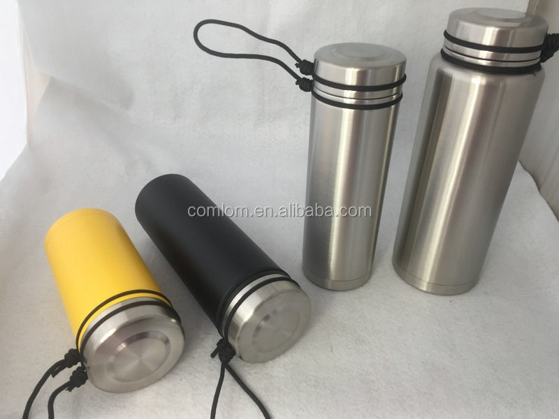 18/8 stainless steel sports bottle with strap