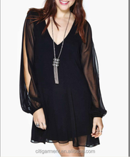 European Style New Product Hot Sale Latest Dress Designs Fashion Casual Sexy Deep-V Chiffon Long Sleeve Girl Dress