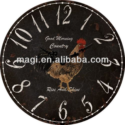 New Style Antique Rooster Western Wall Clock