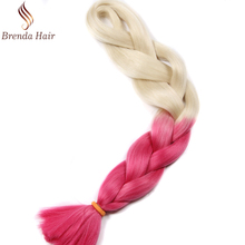 Wholesale cheap Ombre Two Tone Colored synthetic braiding Hair, 100 jumbo braiding synthetic hair bulk