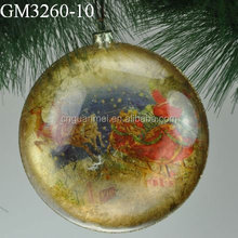 Christmas santa flat bottom glass balls