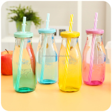 colored cute empty 300ml glass milk drinking bottle with colored lids and straw