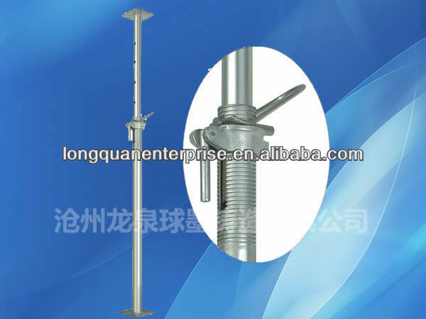 Adjustable shoring prop sleeve and nut for scaffolding