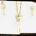 lock and key jewelry set love heart shape for couple stainless steel