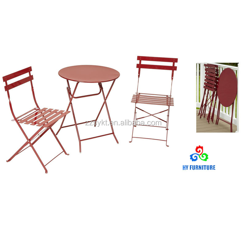 Cheap outdoor furniture set 3 piece bistro patio folding metal steel table and chairs