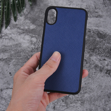 Real Leather Cross Pattern Mobile Phone Case for iphone X Rubber Coated Cover
