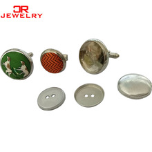 High quality fabric covered cufflinks , cufflinks blanks
