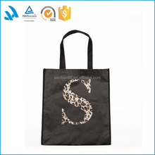 Wholesale black foldable shopping bag with printed logo