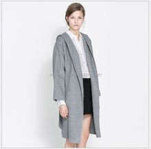 S30933A Gray high end woolen blending coat with hood superior quality big lapel belt coat