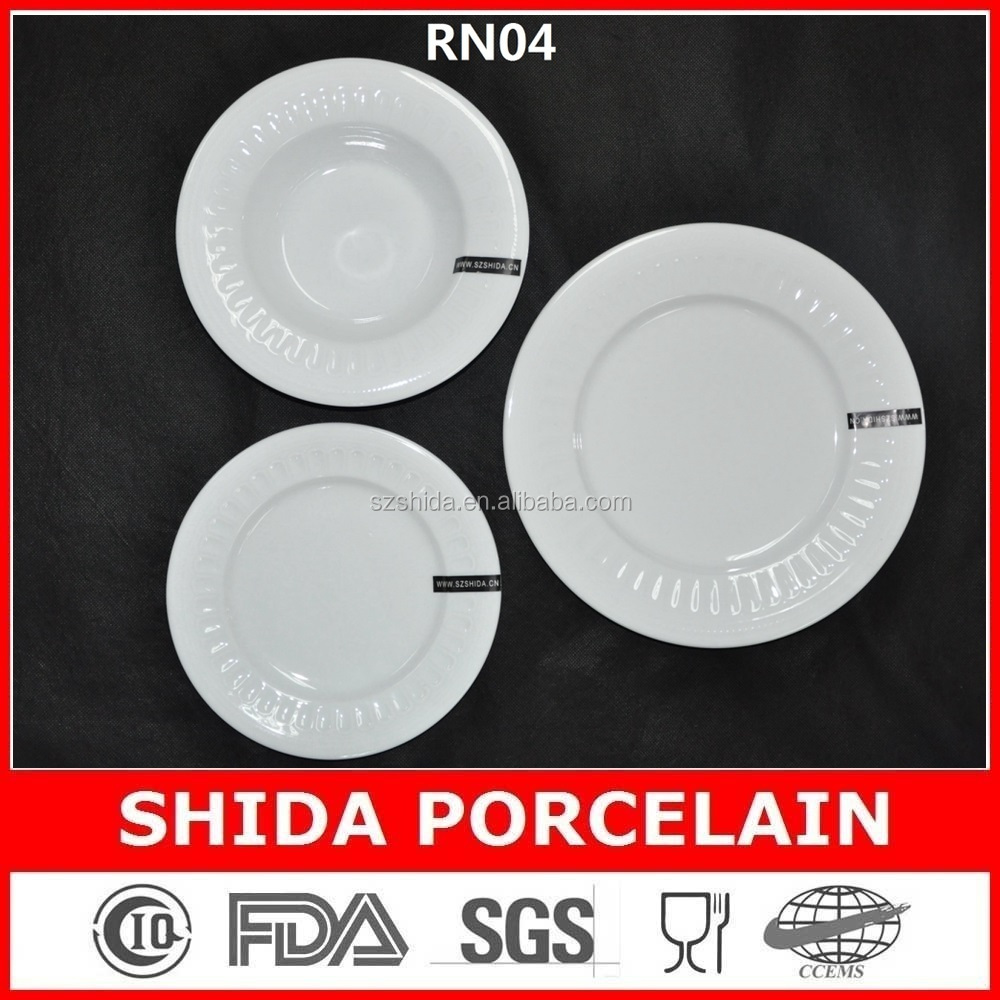 factory emboseed unique design porcelain plates