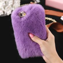Promotional product protective cases ultra slim tpu rabbit fur cell phone case cover for iphone 8 7 7 plus 6 6 plus