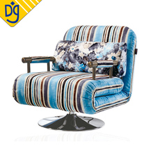 Modern stripe swivel sleeper folding single seat chair sofa bed