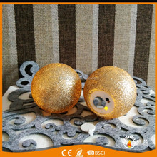 wholesale candle 2017 factory flickering flame wax led gold glitter ball candles