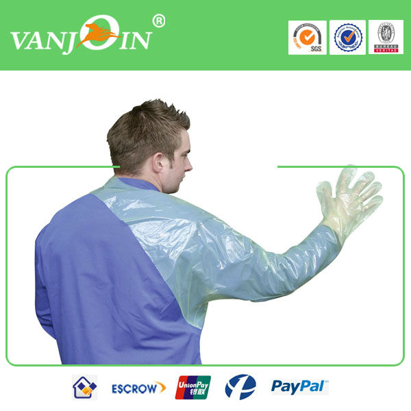 Green Transparent LDPE Shoulder Length Glove