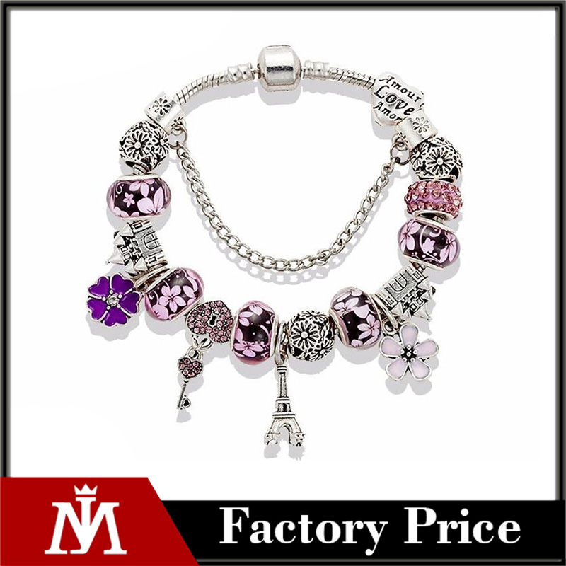 2017 New Fashion Mix Style Charm Bracelet for Women Antique Silver Murano Glass Beads Bracelets Bangles DIY Jewelry