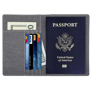 Canvas fabric Passport Holder Wallet Cover Case RFID Blocking Travel Wallet