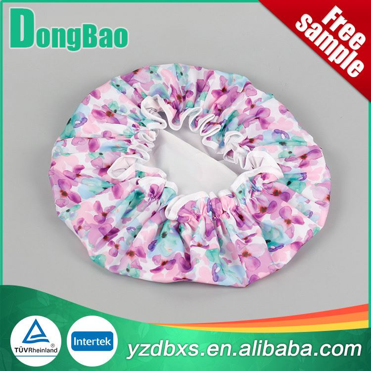 Flower printed colored ear shower cap