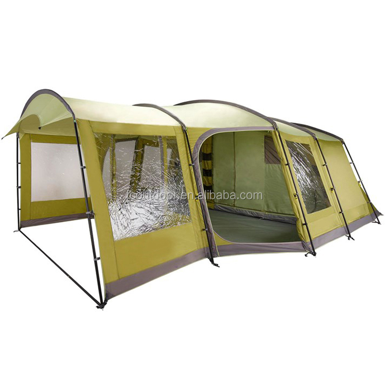 6 Person 3 Rooms 3 Doors Camping Tunnel Family Tent