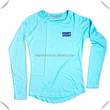 100% microfiber polyester Long Sleeve UPF 50+ Mega Solar Protection Moisture wicking dry fit fishing t shirts for lady