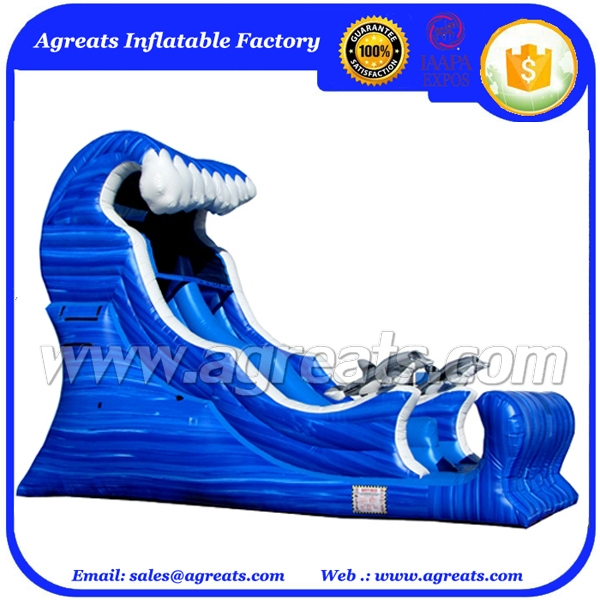 New design inflatable blue wave shape water slide with CE blower G4085