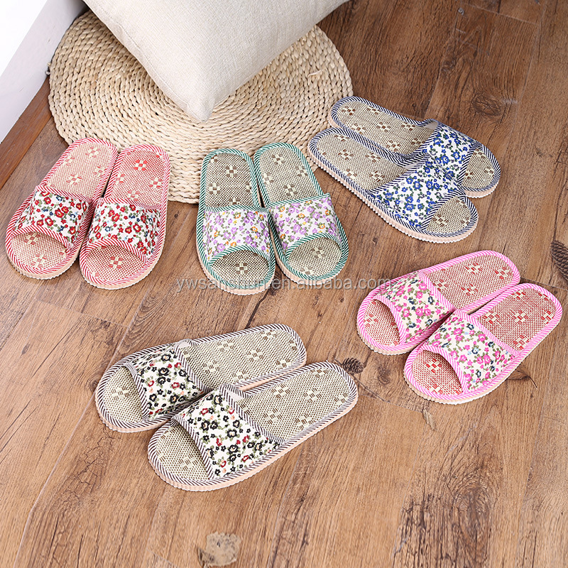 2017 New Style Hot Sale Cheap Price Weave Natianal Style Man Women Home Indoor Cool Comfortable Slippers Print Flower Slipper