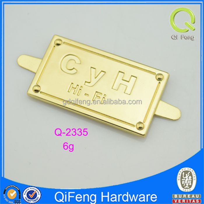 Custom Engraved Logo Metal Tag Label For Handbags/luggage /clothing Q-2301