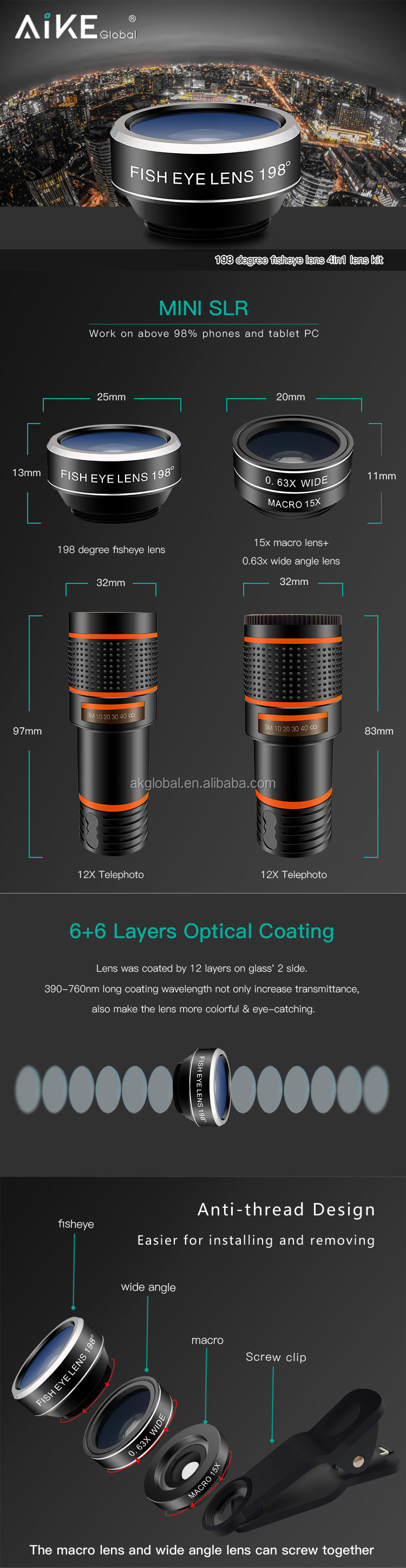 Factory universal hottest 4 in 1 lens kit 12x zoom telephoto lens with mini tripod for mobile phone camera lens set