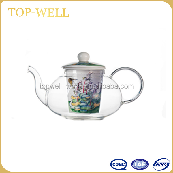 Classical heat resistant glass rose tea pot with lotus leaf decal made in china
