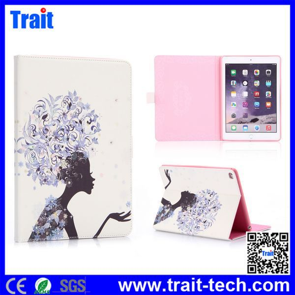 Wholesale Wallet Diamond Magnetic Tablet Cover for iPad Air 2 Leather Case / For iPad 6 PU Leather Printing Case