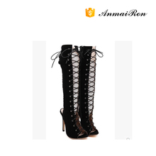 2016 Sexy Over Knee Boots High Heel Lace-up Peep Toe Sandal Boots For Hot-selling