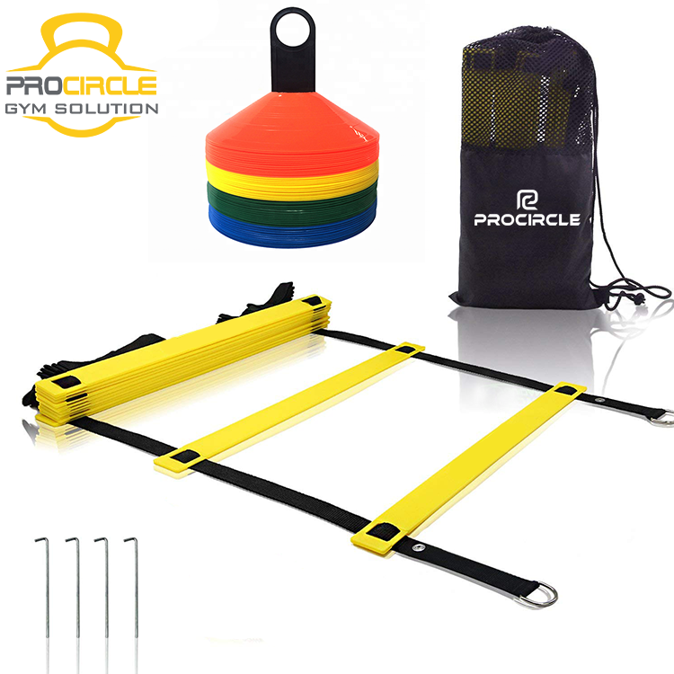 <strong>Football</strong> &amp; Soccer Quick Flat Rung Speed Agility Ladder With Carry Bag Training Equipment