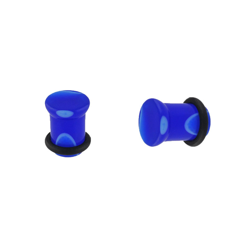 Single flare bone ear expander plug with one rubble ring blue acrylic ear plugs gauges ear stretching