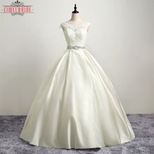 OEM Long Floor-length Beige Bridal Gown Wedding Dress
