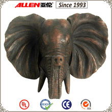 "14"" artificial resin elephant head sculpture for wall decor"
