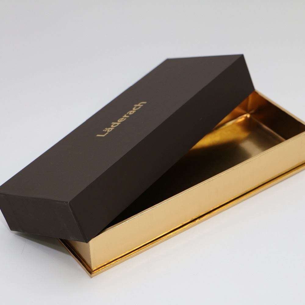 Hot stamping kraft luxury leather chocolate boxes with custom logo